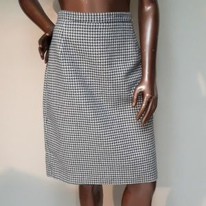 Casual Corner Blue/Tan Houndstooth Wool Skirt